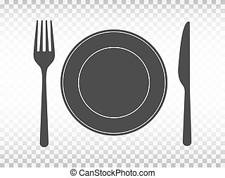 Plate with fork and knife on transparent background. Lunch concept in flat design. Restaurant icons. Tableware set on white backdrop. Menu design template. Vector illustration