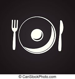 Plate with fork and spoon on black background