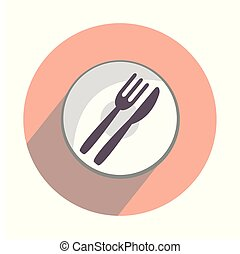 Plate with fork and spoon on white background flat