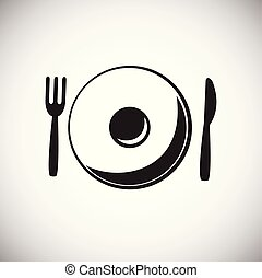 Plate with fork and spoon on white background