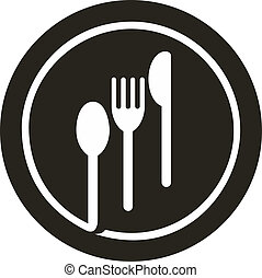 icon illustration of plate with fork, knife and spoon on top of it