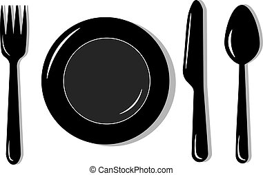 Plate with fork, knife and spoon. Vector illustration.