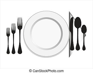 Plate with fork, knife ,spoon