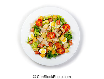 Plate with fresh ceasar salad isolated