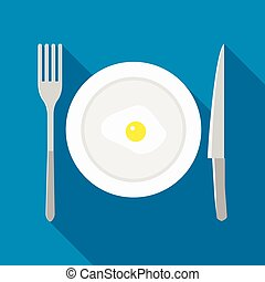 Plate with fried egg icon in flat style