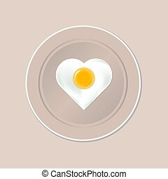Plate with fried egg in the shape of a heart