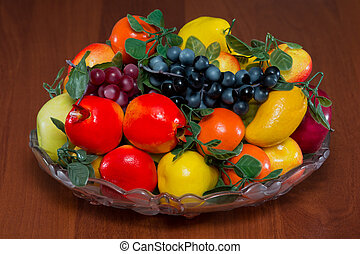 plate with fruit on a table