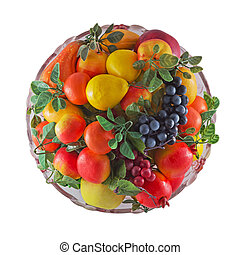 plate with fruit on a white background