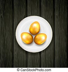 Plate with Golden Easter Eggs on Black Wooden Background