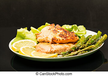 Plate with grilled salmon