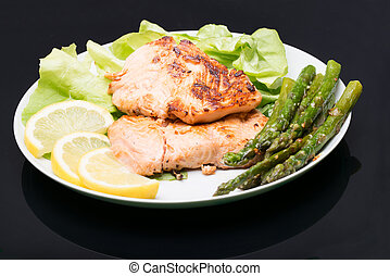 Plate with grilled salmon and asparagus