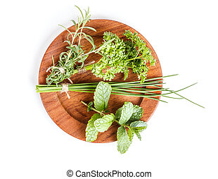 Plate with herbs