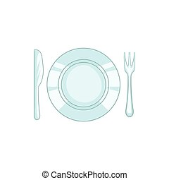 Plate with knife and fork icon, cartoon style