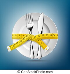 Plate with knife, fork and tailoring centimeter. Dieting and weight loss. Stock vector illustration.