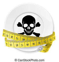 Diet concept. - Plate with measuring tape and skull with...