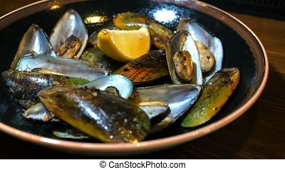 Plate with mussels snack