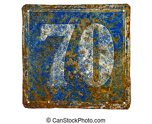 plate with number seventy