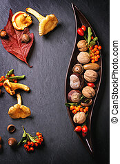 Plate with nuts and berries