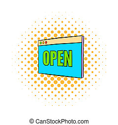 Information plate with open sign icon in comics style isolated on white background