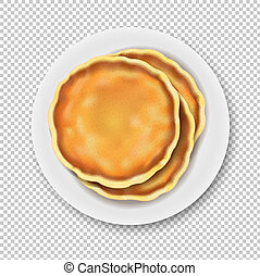 Plate With Pancake Isolated Transparent Background