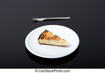 Plate with piece of pear pie