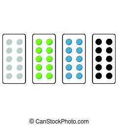 Plate with pills green blue grey black colour.