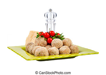 Plate With Raw Meatballs