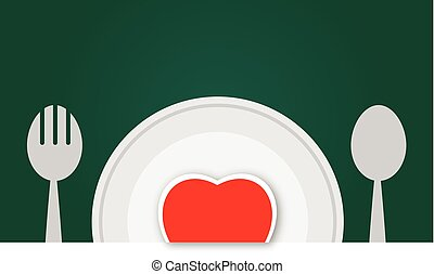 Plate with red heart vector