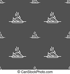 Plate with red hot chili pepper and burning porrige icon sign. Seamless pattern on a gray background. Vector