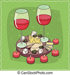 Plate with red wine and different cheeses - Romantic...