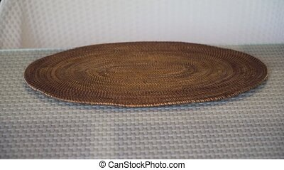 Plate with ripe tropical fruits. - Female hands put on the...