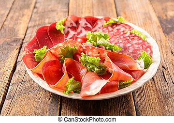 plate with salami, bacon, speck