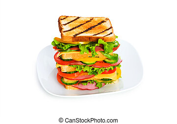 Plate with sandwich isolated on the white