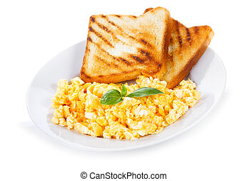 plate with scrambled eggs and toasts on white background