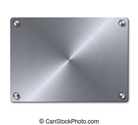 Plate with screws template - Brass shiny metal plate with...