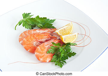 plate with shrimps