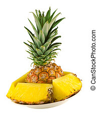 sliced pineapple - plate with sliced pineapple on a white ...