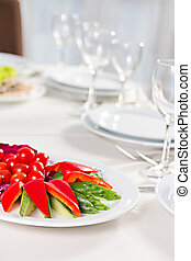 plate with sliced vegetables
