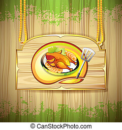 Plate with smoked chicken over wood banner