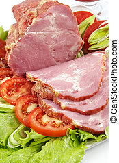 Plate with snack from bacon-laying of a celebratory table