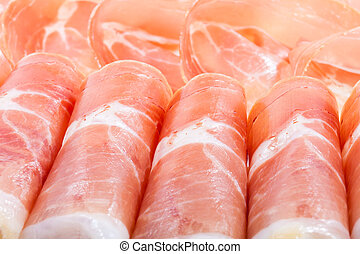 plate with spanish ham served as tapas - plate with spanish...