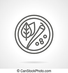 Plate with spicy black line vector icon
