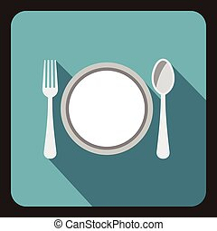 Plate with spoon and fork icon, flat style