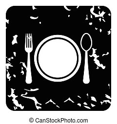 Plate with spoon and fork icon, grunge style