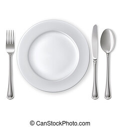 Empty plate with spoon, knife and fork on a white background. Mesh. Clipping Mask.
