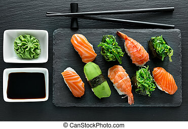 Plate with sushi