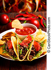 plate with taco, nachos chips and tomato dip