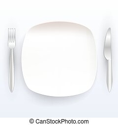 Plate with tools on a white background
