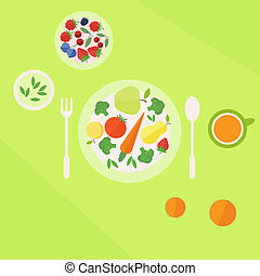 Plate with vegetables fruits and glass of juice on a table