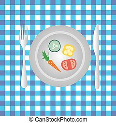 plate with vegetables on the table diet food eps10
